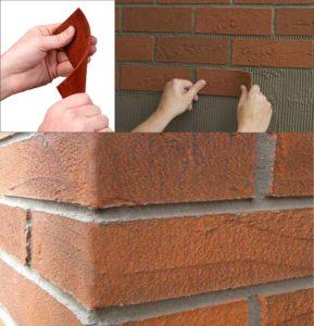гибкий кирпич клеится на стену